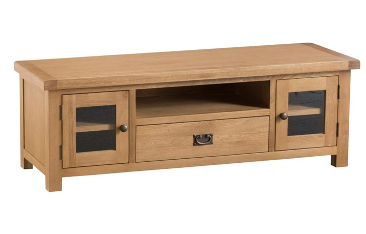 TV Cabinets - Burford Rustic Oak Large TV Unit