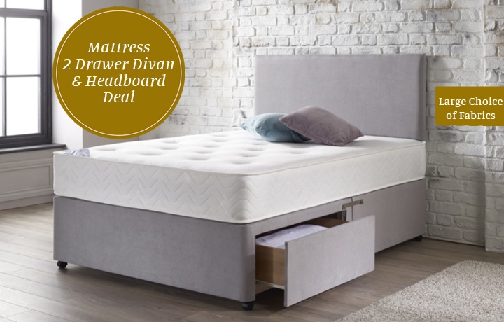 3ft-single-mattress-and-divan-bases - 3ft Bliss 1000 Pocket Mattress 2 Drawer Divan Set With Matching Headboard