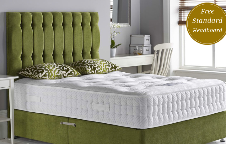 4ft6 Double Mattress & Divan Special Offers - 4'6ft Double Surrey 2000 Pocket Spring Luxury Mattress and Divan Base