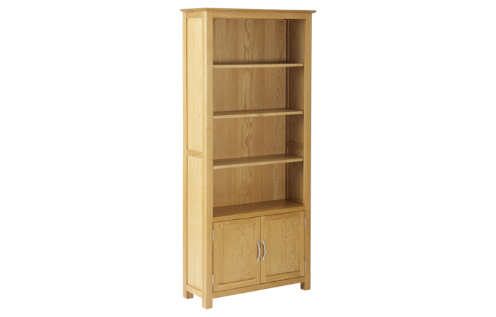 Bookcases - Origin Oak Bookcase with Cupboard