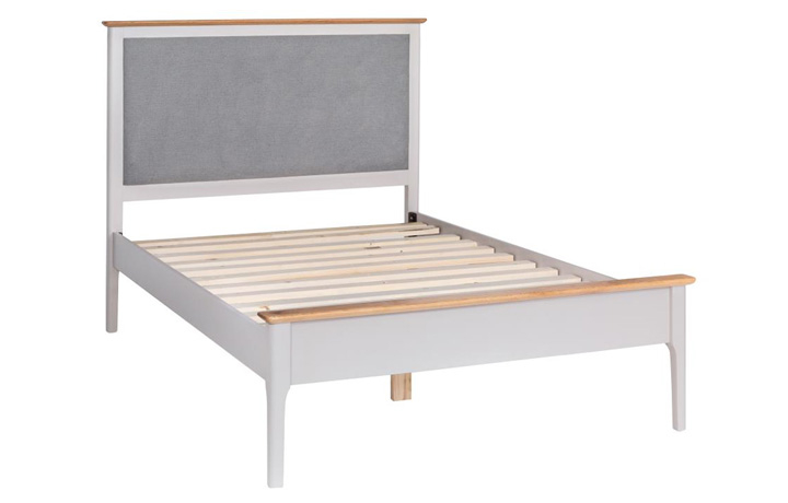 Beds & Bed Frames - Odense Stone Painted 3ft Single Bed Frame With Grey Fabric Headboard