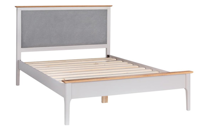 Bed Frames - Odense Stone Painted 5ft Bed with Grey Fabric Headboard