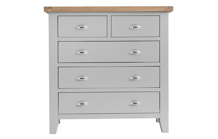 chest-of-drawers - Regency Grey Painted 2 Over 3 Chest