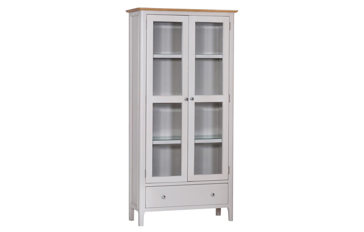 Display Cabinets - Odense Stone Painted Display Cabinet With Lights