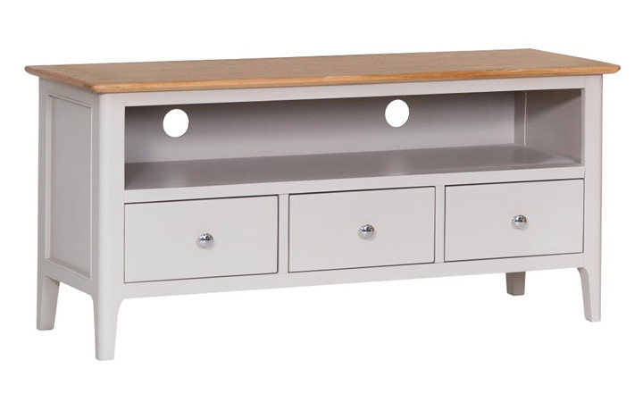 TV Cabinets - Odense Stone Painted Large TV Cabinet with 3 Drawers