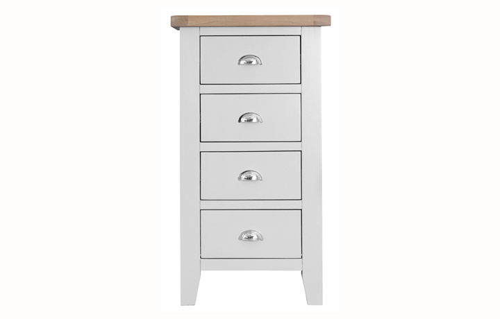 Chest Of Drawers - Regency White Painted 4 Drawer Narrow Chest