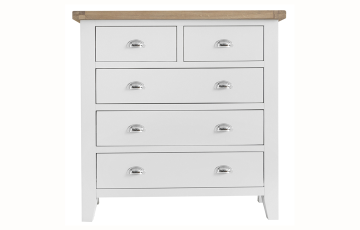 chest-of-drawers - Regency White Painted 2 Over 3 Chest