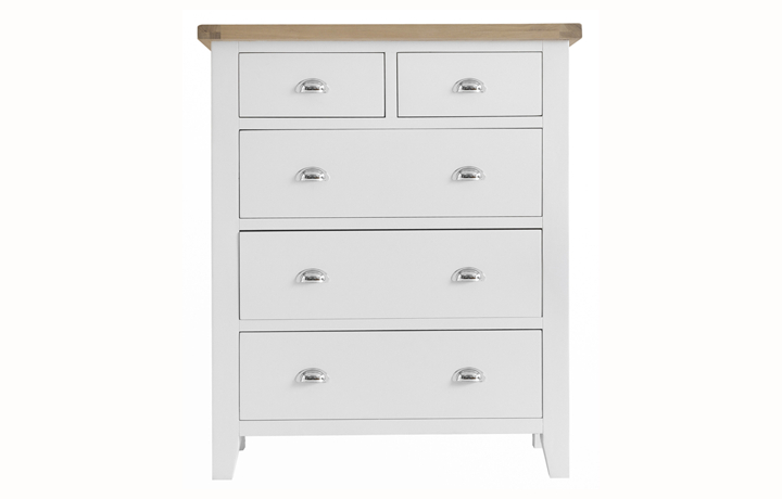 Chest Of Drawers - Regency White Painted Jumbo 2 Over 3 Chest