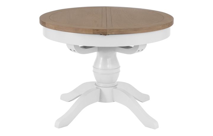 Dining Tables - Regency White Painted 110cm Round Pedestal Extending Dining Table