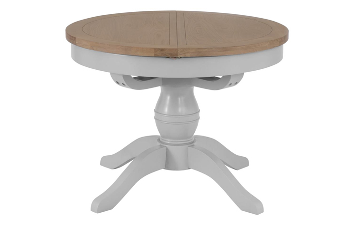 Dining Tables - Regency Grey Painted 110cm Round Pedestal Extending Table