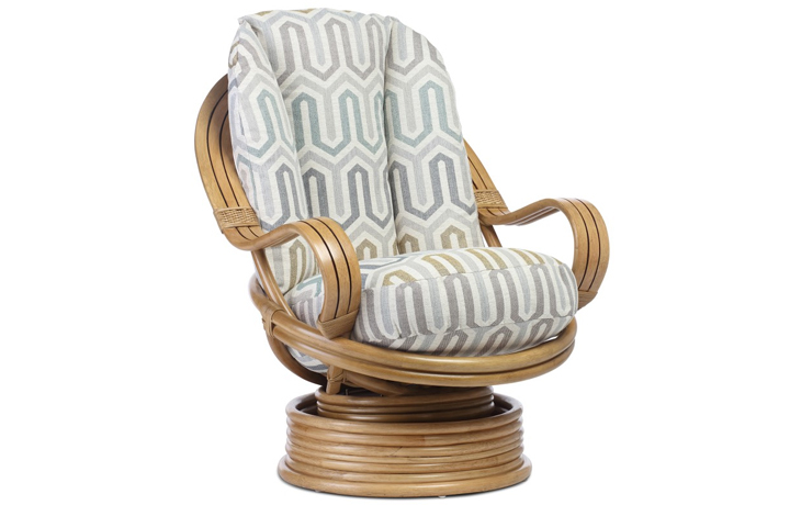 Manila Rattan Range - Manila Swivel Rocking Chair Light Oak