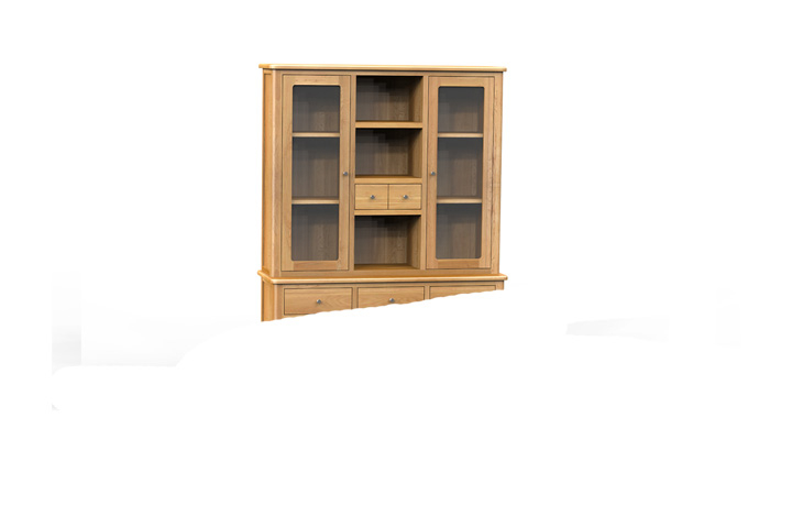Dresser Tops & Larder Units - Bergen Oak Large Buffet Hutch