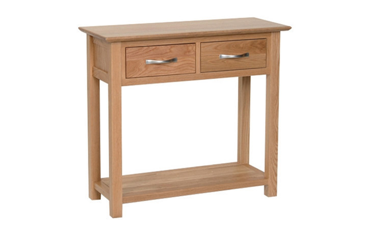 Consoles - Woodford Oak 2 Drawer Console Table