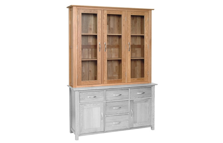 Dresser Tops & Larder Units - Woodford Oak Large Glass Dresser Top ONLY