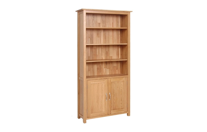 Bookcases - Woodford Solid Oak Tall Bookcase With Cupboard