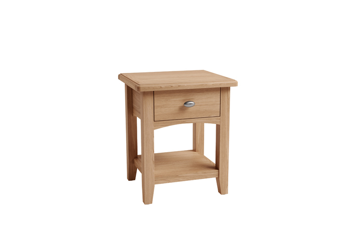 Coffee & Lamp Tables - Columbus Oak 1 Drawer Lamp Table