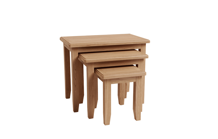 Nested Tables - Columbus Oak Nest of 3 Tables