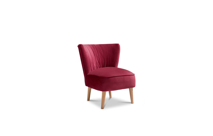 Accent Chairs & Stools - Margate Accent Chair Plush Velvet Fabric - Claret