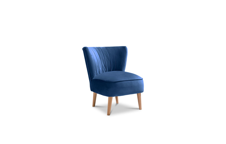 Accent Chairs & Stools - Margate Accent Chair Plush Velvet Fabric - Marine