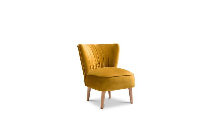 Accent Chairs & Stools - Margate Accent Chair Plush Velvet Fabric - Mustard
