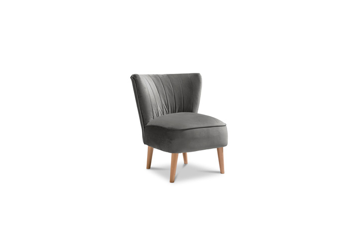 Accent Chairs & Stools - Margate Accent Chair Plush Velvet Fabric - Steel Grey