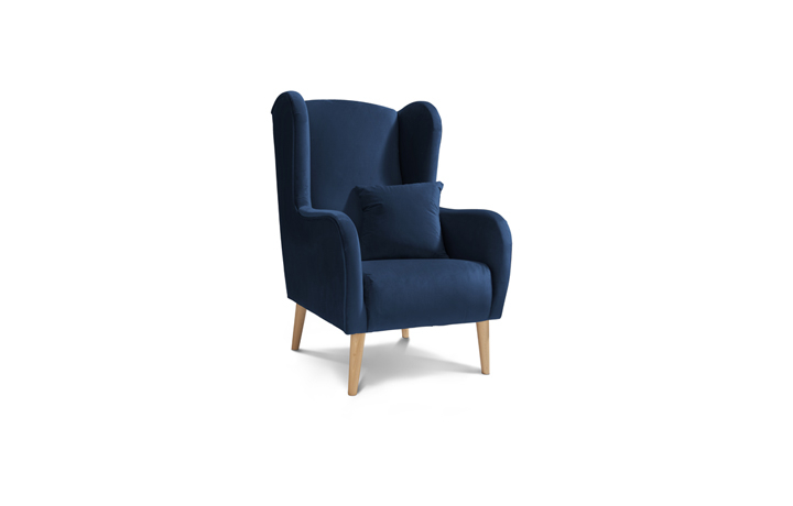 Accent Chairs & Stools - Chelsea Plush Chair Marine with Light Legs