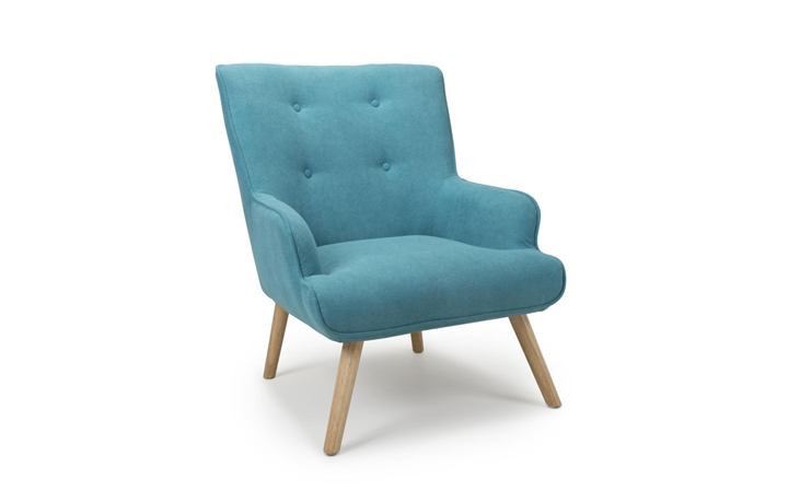 Accent Chairs & Stools - Cinema Chenille Effect Armchair Turquoise Blue