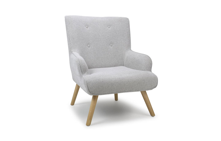 Accent Chairs & Stools - Cinema Flax Effect Armchair Silver Grey