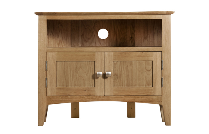 TV Cabinets - Amira Oak Corner TV Unit