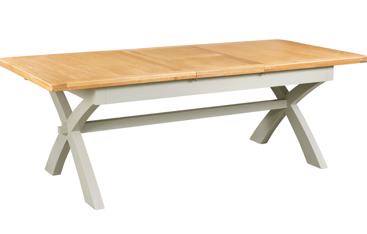 Dining Tables - Eden Grey Painted X-Leg Extending Dining Table