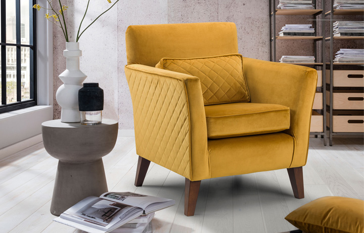 Accent Chairs & Stools - Camden Accent Chair With Quilted Plush Mustard Fabric And Dark Legs
