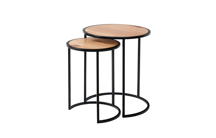 Edison Industrial Oak Range - Edison Oak Round Nest Of 2 Tables