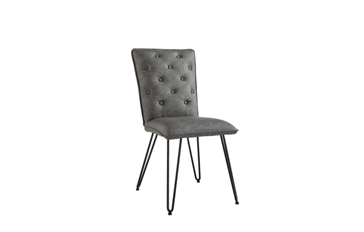 Edison Industrial Oak Range - Cleo Grey Studded Back Chair With Hairpin Legs
