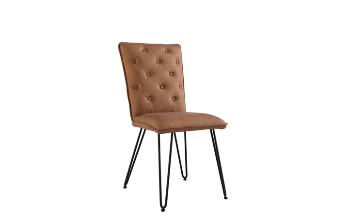 Edison Industrial Oak Range - Cleo Tan Studded Back Chair With Hairpin Legs
