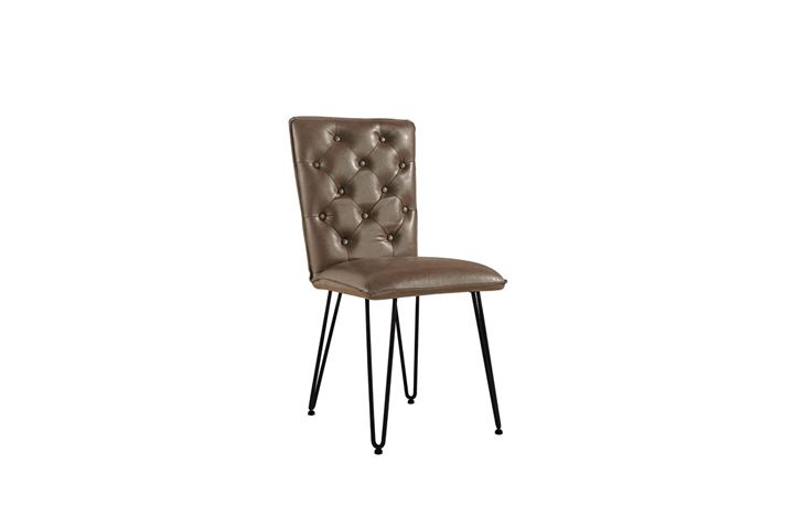 Edison Industrial Oak Range - Cleo Brown Studded Back Chair With Hairpin Legs