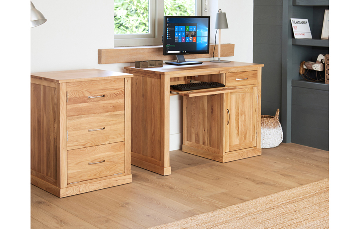 Office Furniture - Pacific Oak Single Pedestal Computer Desk
