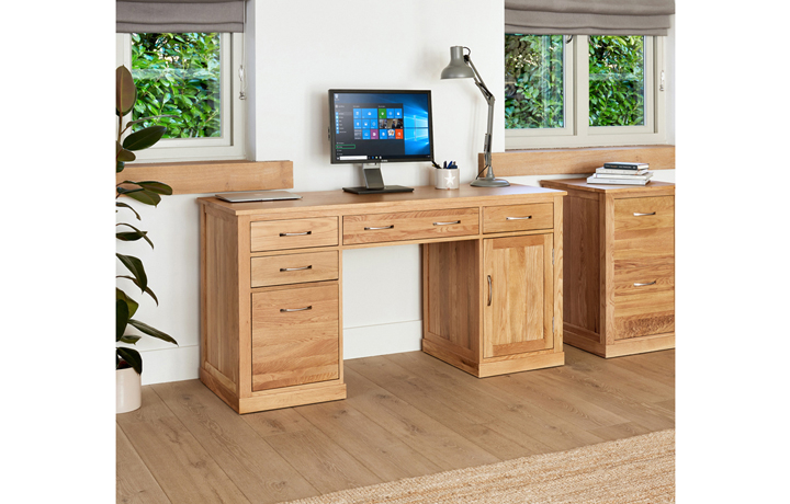 Office Furniture - Pacific Oak Twin Pedestal Computer Desk