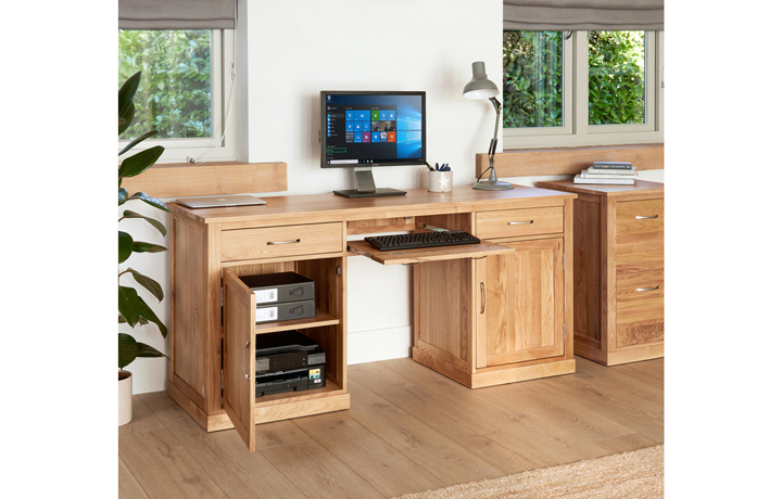 Office Furniture - Pacific Oak Large Hidden Office Twin Pedestal Desk