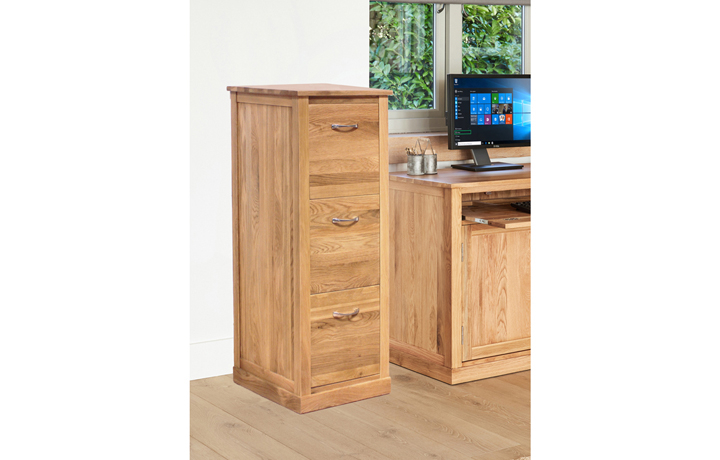 Office Furniture - Pacific Oak 3 Drawer Filing Cabinet