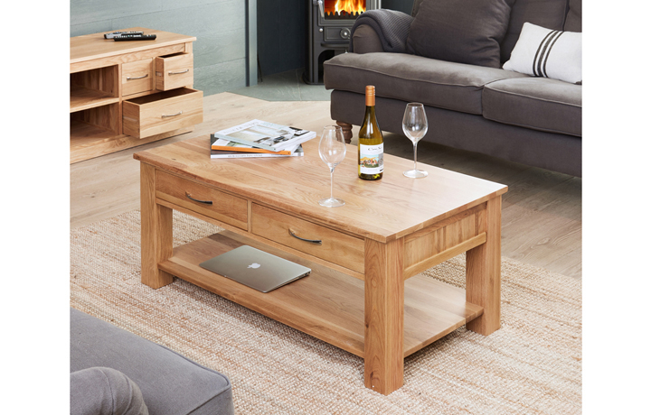 Pacific Oak Furniture Range (Web Exclusive) - Pacific Oak 4 Drawer Coffee Table