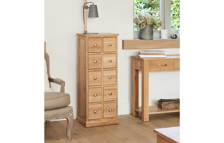 Office Furniture - Pacific Oak 10 Drawer DVD / CD Storage Chest