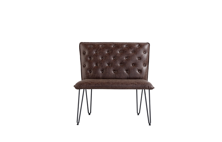 Benches - Cleo Small Brown Studded Back Bench Seat With Hairpin Legs