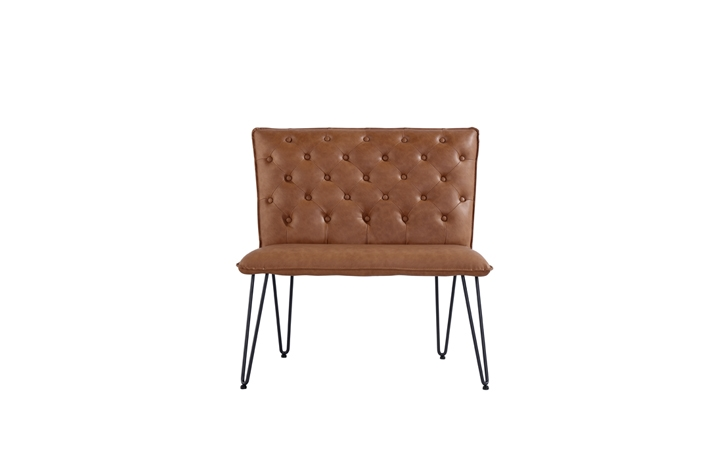 Benches - Cleo Small Tan Studded Back Bench Seat With Hairpin Legs