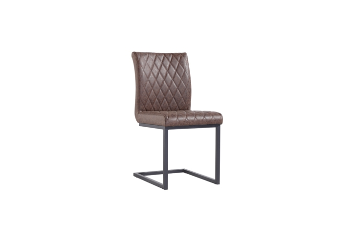Edison Industrial Oak Range - Diamond Stitch Brown Cantilever Dining Chair