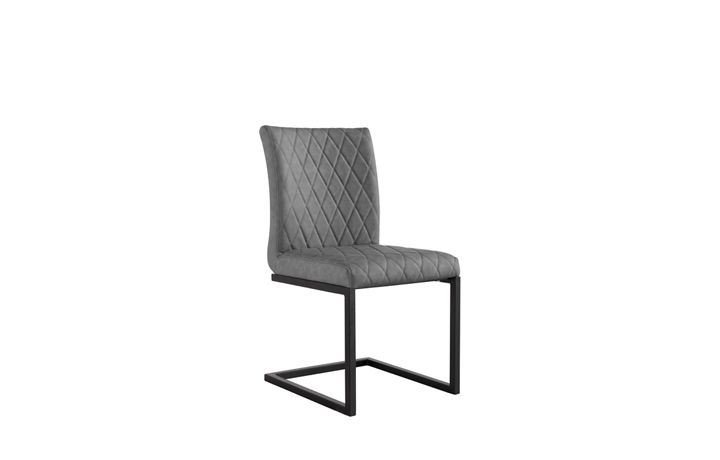 Edison Industrial Oak Range - Diamond Stitch Grey Cantilever Dining Chair
