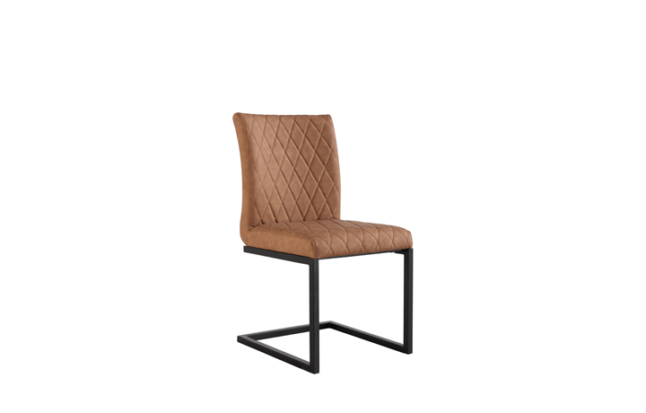 Edison Industrial Oak Range - Diamond Stitch Tan Cantilever Dining Chair