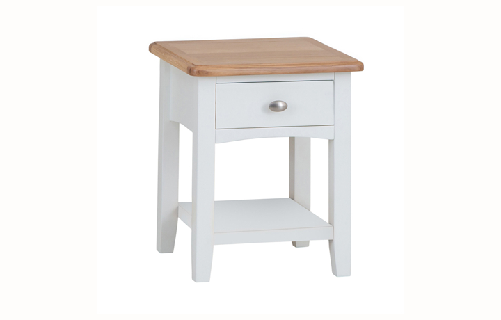Coffee & Lamp Tables - Columbus White 1 Drawer Lamp Table