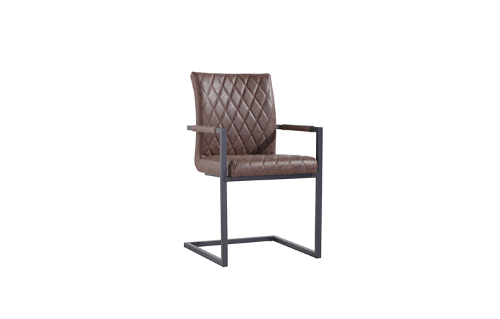 Edison Industrial Oak Range - Diamond Stitch Brown Cantilever Carver Chair