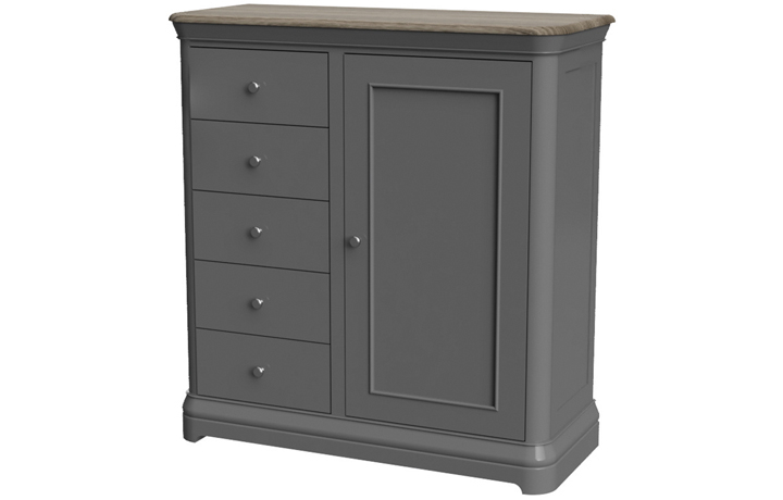 Wardrobes - Victoria Painted 5 Drawer 1 Door Gents Combi Chest