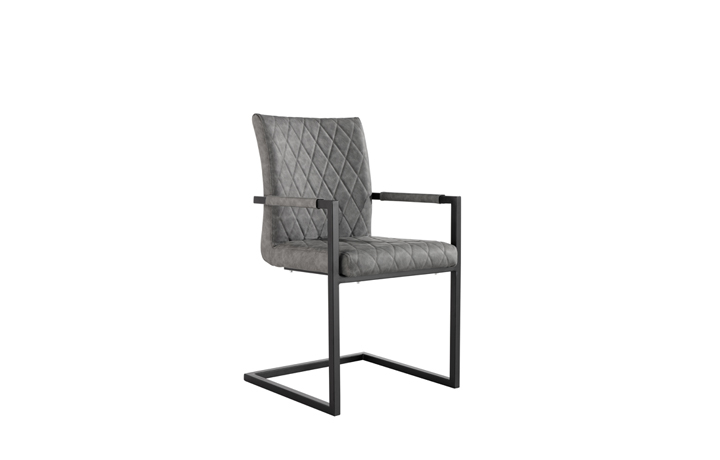 Edison Industrial Oak Range - Diamond Stitch Grey Cantilever Carver Chair